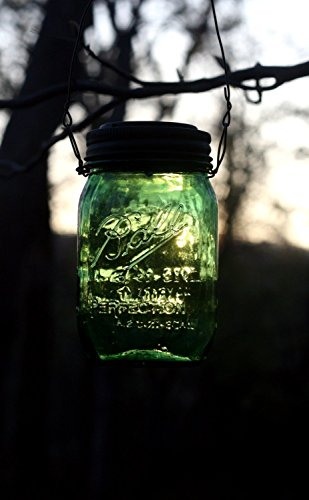 Hanging GREEN Mason Jar Solar Powered Lantern, Mason Jar Solar Powered Light, Mason Jar Solar Light