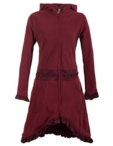 Vishes - Alternative Bekleidung - Weicher Warmer Damen Elfen Fleecemantel mit Kapuze und Rüschen dunkelrot 38
