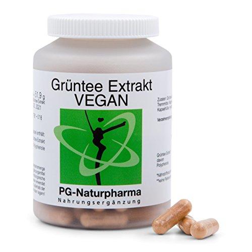 Tè verde vegan, 120 capsule, estratto di tè verde con polifenoli al 95%, contenuti di 2 capsule: catechine 65% (455mg), EGCG 40% (280mg), caffeina 5% (35mg), prodotto in Germania