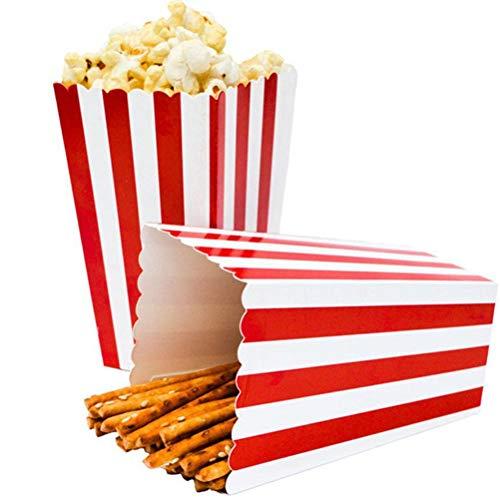 Ouinne Popcorn Boxen, 24 Stück Popcorn Boxes Candy Boxen Streifenmuster Dekoratives Geschirr für Party und Süßigkeiten (Rot)