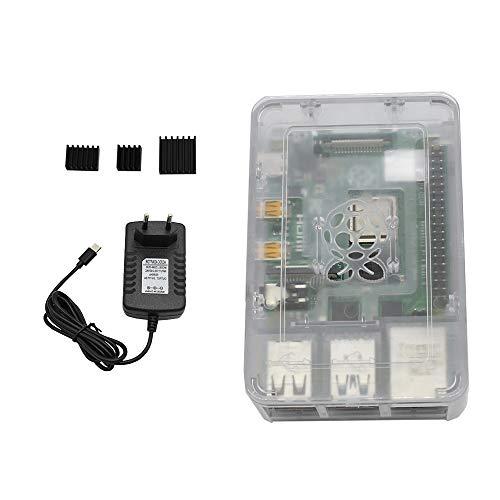 CUHAWUDBA para Raspberry Pi 4 Modelo B Estuche ABS 4G RAM Kit de Bricolaje con Disipador 5V 3A Adaptador de Corriente para Raspberry PI 4B (Enchufe de EU) Transparente
