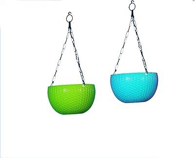 SJS Bazaar Plastic Hanging Pot for Terrace Gardening, Diameter-7.1 Inch, Height-13 Inch, Green and Blue, Pack of 2