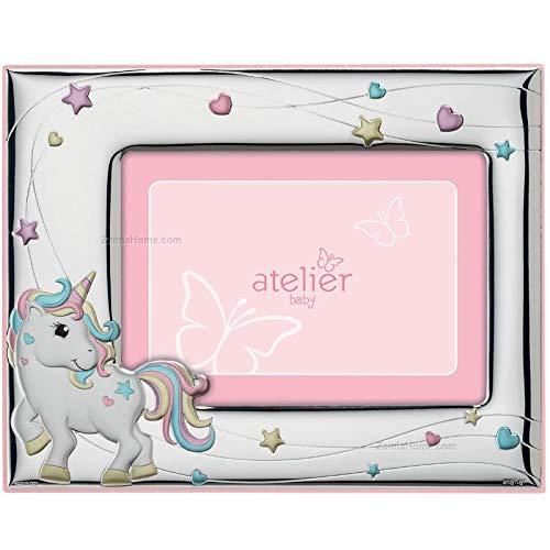 Atelier - Portafotos de unicornio para niña, plata 925, portafotos de PVD plateado, diseño de unicornio, parte trasera de madera Marco para niño de 9 x 13 cm – Rosa Marca: Atelier