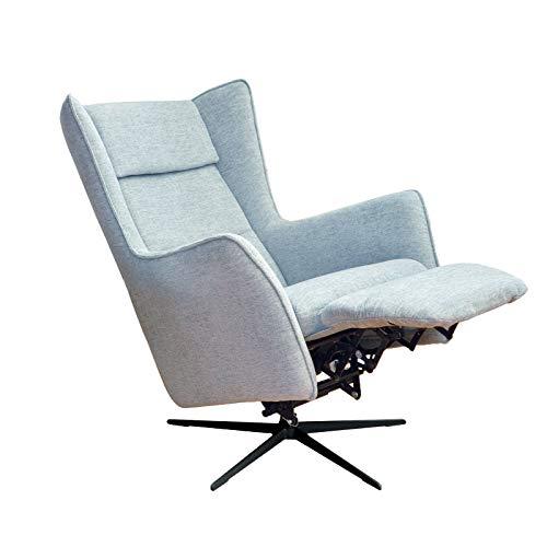 place to be. Motorischer Ohrensessel mit Relaxfunktion und extra Komfort/Polstersessel mit Schaukelfunktion Rücken- und Fussteil verstellbar mit Akku hellblau