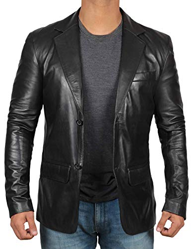 fjackets Black Mens Leather Jacket - Genuine Lambskin Leather Jackets for Men | [1500567],Black Blazer XXXL