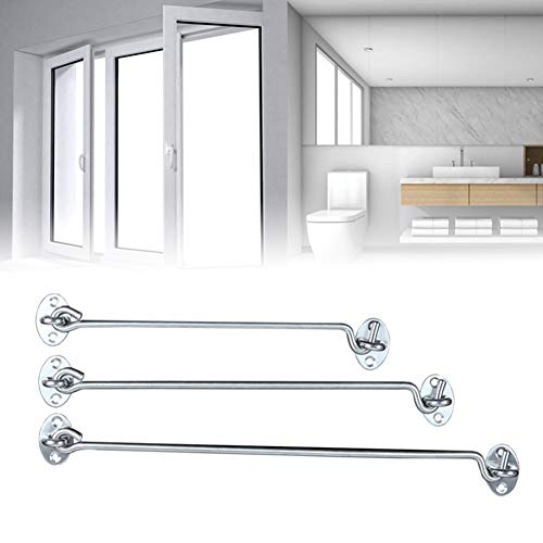 shengyuze Hooks & Hangers 3-16inch Stainless Steel Cabin Hook & Eye Latch Lock Shed Gate Door Catch Holder for Home - 16 inch