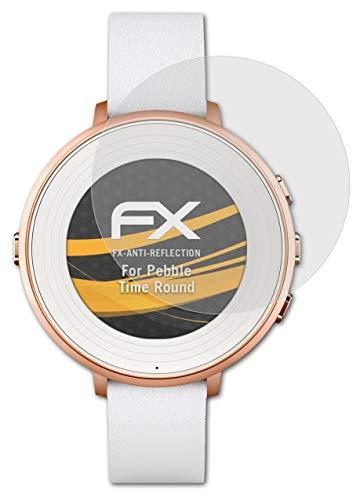 atFoliX Panzerfolie kompatibel mit Pebble Time Ro& Schutzfolie, entspiegelnde & stoßdämpfende FX Folie (3X)