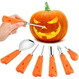 YQHbe Halloween Kürbis Schnitzset, Schnitzwerkzeug Kürbis 6 Stück Kürbis Schnitzen Edelstahl Schnitzmesser Pumpkin Carving Set für Kinder Halloween Lantern Dekoration -