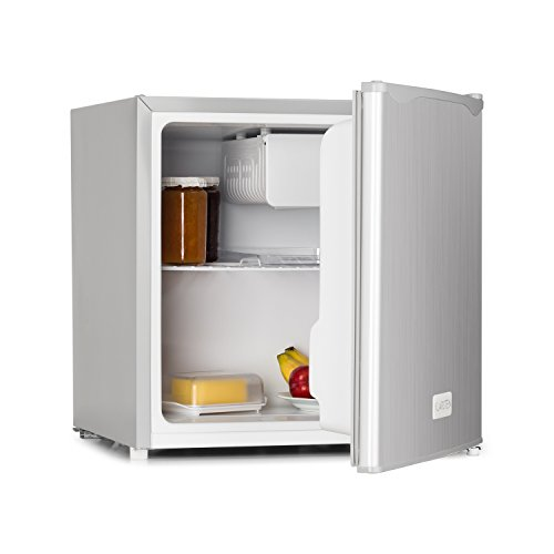 Klarstein 50L1-SG Minibar Minikühlschrank Mini Snacks- und Getränkekühlschrank (40 L, 39 dB leise, 1 Regaleinschub, 1 Türablagefach, 1 Türflaschenablage, Gefrierfach, regelbar) silber