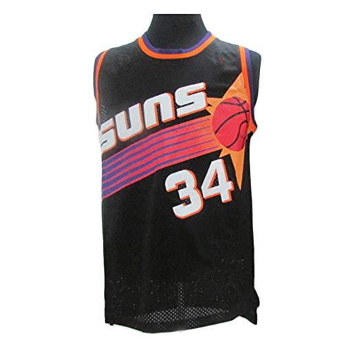 MFFZHJ Basketball Swingman Jersey,for Barkley for Suns 34,Retro Basketball Vest for Men,Soft and Comfortable,Unisex Sleeveless Tshirt,The Best Gift Black-XL