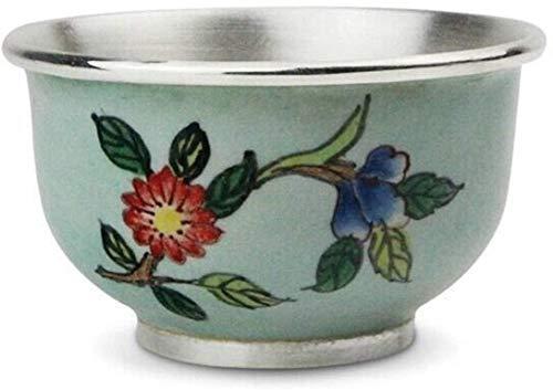 Tetera de plata Juego de té de plata esterlina Taza de café Juego de tetera de café hecho a mano Artículos para el hogar Tetera de ceremonia antigua Regalos (Color: Ag s999 Peso 35 g, tamaño: gratis)