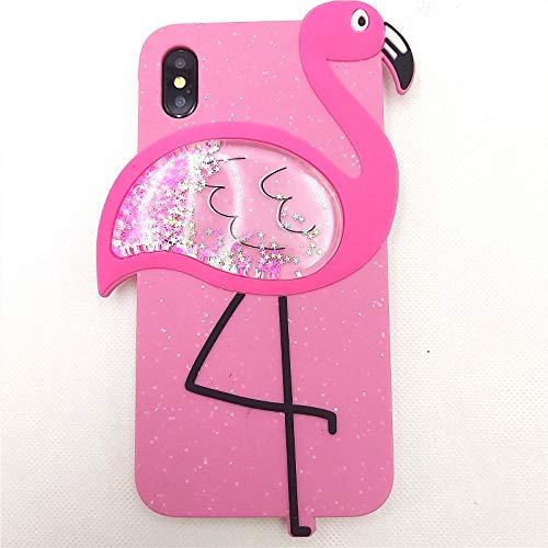 iPhone SE 2020 Hülle Cute iPhone 8 Hülle, iPhone 7 Hülle 3D Cartoon Quicksand Flamingo Bling Glitzer Silikon Gummi Cover Frauen Teen Mädchen Cute Phone Cases iPhone 8/7/SE 2020 (Rose, iPhone 6/7/8)