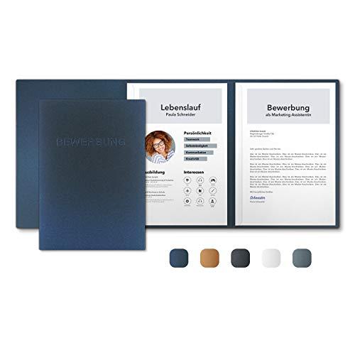 5 Stück 3-teilige Bewerbungsmappen Nachtblau Metallic mit 2 Klemmschienen - Premium-Qualität mit hochwertiger Prägung BEWERBUNG - direkt vom Hersteller STRATAG