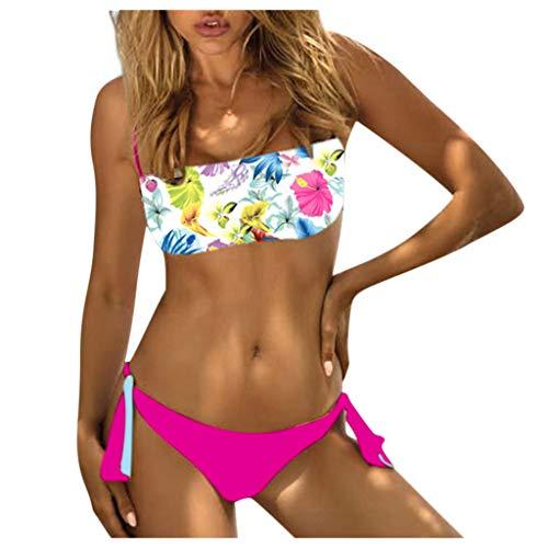 QingJiu Neue Damenmode Bandeau Bikini Niedrige Taille Bandage Drucken Badebekleidung Zweiteiliger Badeanzug Beachwear Set