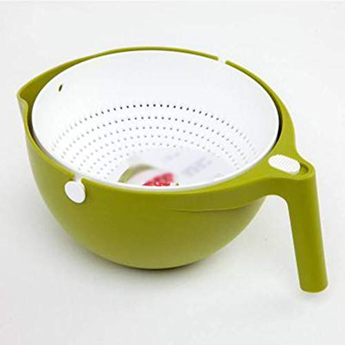 Colander, Round Colander Double Layer Removable with Easy-Pour Corners And Vertical Grip Foldable Colander,2