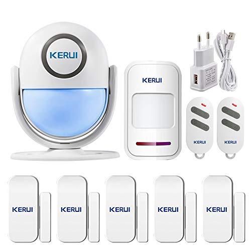 KERUI Bewegungsmelder für Innen und Aussen kompatible mit Alexa, Home WiFi Alarmanlage Haus, Kabelloser Alarm System mit Fernbedienung Infrarot Bewegungssensor 125 db Sirene,Sicherheit für haus