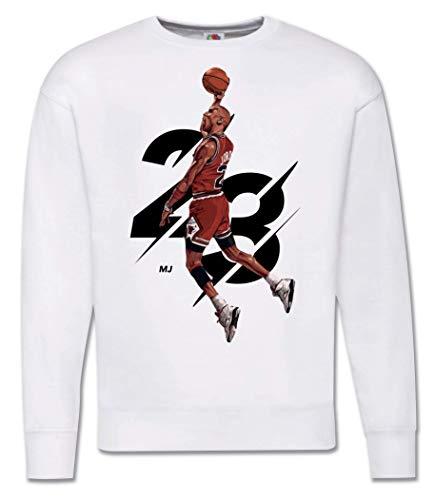 Generico Felpa Uomo Michael Jordan 23 - Girocollo Campioni Basket NBA Pallacanestro Tunes Squad (Bianco, M)