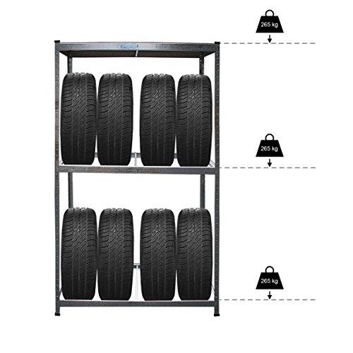 Helo KFZ Reifenregal aus verzinktem Stahl für bis zu 8 Auto Reifen + 1 Regalboden (max. 795 kg belastbar), Reifenständer Maße (H/B/T) 180 x 120 x 40 cm, Gewicht: ca. 9,5 kg - Achtung: B-Ware
