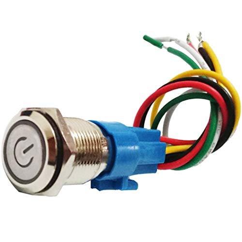 Bonarty Interruptor de Bocina de Botón Pulsador Momentáneo Impermeable para Timbre/Barco/Coche, Autoblocante