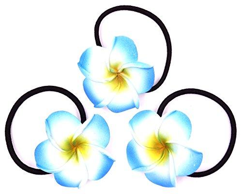 Made in zen Lot de 3 Élastique à Cheveux Fleur Hair Elastic Flower Tiaré Vahiné Tahiti Bleu
