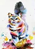 mlpnko DIY Pintar por números Gato Colorido Pintar por números para niños Adultos Kit de Pintura al óleo DIY Principiante