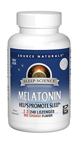 Source Naturals Sleep Science Melatonin 2.5 mg Orange Flavor - Helps Promote Sleep - 240 Lozenge Tablets