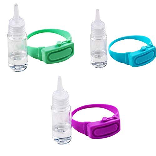 3 Pezzi Braccialetto Disinfettante, Bracciale dispenser in silicone liquido riempibile, Dispenser di bracciali portatile, Adatto per Viaggi, Lavoro, Scuola, All'aperto