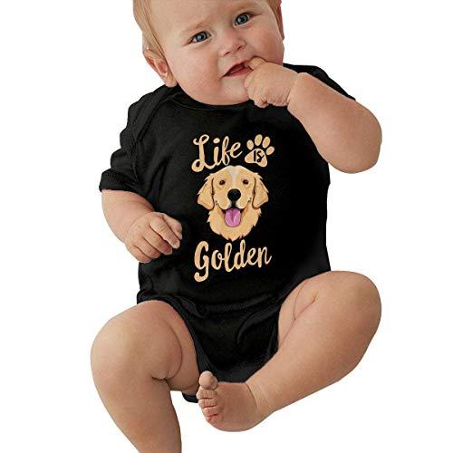 Lplpol Life is Golden Retriever - Mono de algodón de manga corta para bebé, unisex, Ne001 - negro - 9-12 meses