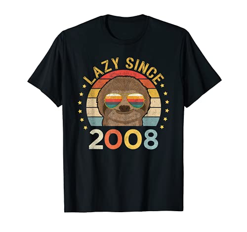 Retro 13th Birthday Perezoso Perezoso Desde 2008 Vintage Camiseta