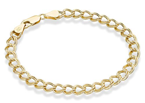 Miabella 18K Gold Over Sterling Silver Italian 6mm, 7.5mm, Double Curb Link Chain Bracelet for Women Men, 6.5, 7, 7.5, 8 Inch 925 Charm Bracelet Made in Italy (6.5, 6mm Width)