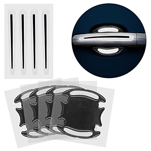 kwmobile 8X Universal Auto Türgriff Lackschutzfolie - Folie - Schutzfolie Griffmulden und Griff Schwarz Grau 9,1 x 8,3 + 13 x 1,7 cm