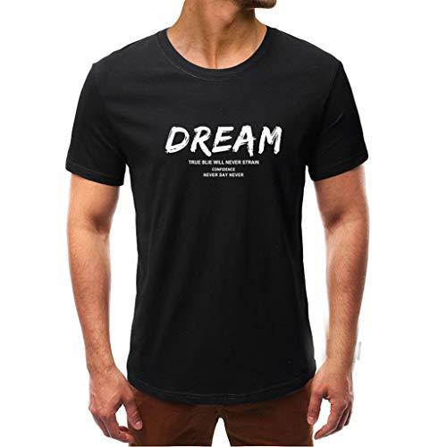 FRAUIT heren T-shirt ronde hals korte mouwen zomer dream brief print tops T-shirt met frontprint en ronde hals blauw, zwart, grijs en wit casual feestelijke kleding blouse