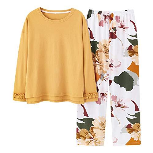 DFDLNL Pijamas de Mujer con Estampado Floral Pijamas de Mujer de Cuello Redondo Pijamas Ropa de Dormir Simple Ropa de hogar Informal Tallas Grandes M