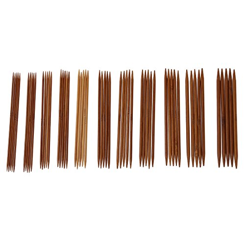 Gaoominy 5 Sets von 11 Groessen 5 \'\' (13cm) Doppelspitz Karbonisierte Bambus Stricknadeln Nadeln Set (2,0 mm - 5,0 mm)
