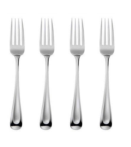 Oneida Satin Sand Dune Everyday Dinner Forks, Set of 4, 18/0 Stainless Steel, Silverware Set, Dishwasher Safe