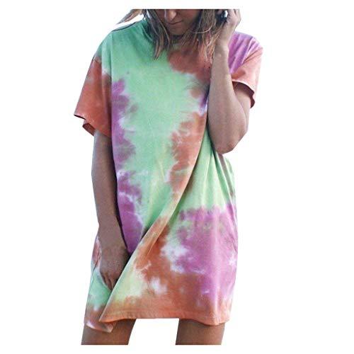 Damen T-Shirt Kleider, Frauen äRmelloses Blumen Minikleid Summer Beach Party Sommerkleid Kurzarm Casual Basic Tops T-Shirt Sommerkleid Strandkleid Cocktailkleid