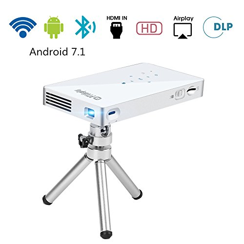 PTVDISPLAY Pocket Portable Mini Projector, 1080P Pico Bluetooth Video WiFi DLP Projector Full HD Support Android HDMI USB TF Card Wireless Home Projector