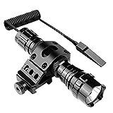 戦術懐中電灯 タクティカルライト(1200ルーメン 高輝度LED) 防水 LED懐中電灯 +マウントリング(20㎜レイル対応) ウエポン/フラッシュライト、リモート&プッシュスイッチ付き