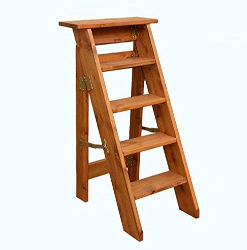 DNSJB 5-Stufen-Haushaltsleiter Solide Klappbare Holzleiter-Verstärkung Fünfstufige Leiter Kleine Leiter Dachbodenleiter (Color : A)