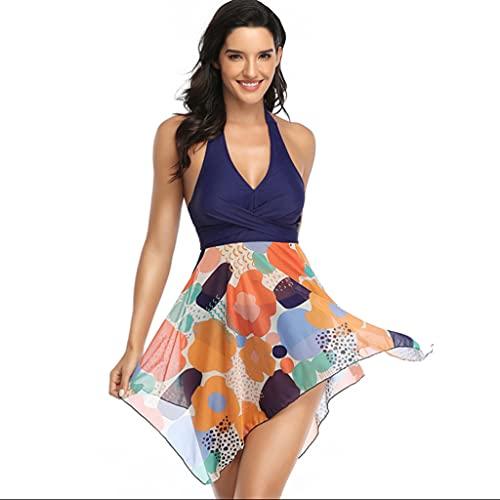 OSELLINE 2021 New Bikini Set, Mujeres Tankini Set Halter Mesh Polka Dot Vestido con Dobladillo Irregular con Briefs Traje de baño C