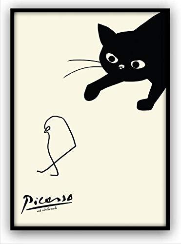 ポスター ピカソ ネコとヒヨコ A4サイズ 額縁付き