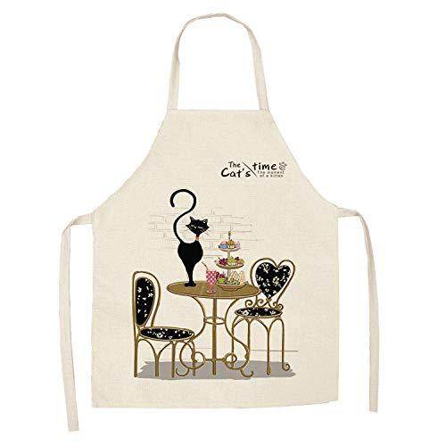 Delantal de cocina de delantal de gato lindo de dibujos animados creativos para hombres y mujeres que imprimen delantal de algodón y lino sin mangas herramientas de limpieza del hogar 68 * 55cm-A2_XS
