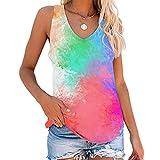VERROL Blusa de Mujer Verano Tie-Dye Moda Cuello en V Camiseta Casual Camisetas sin Mangas Streetwear Top