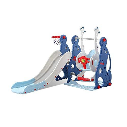 Z-Color Los niños tobogán y Columpios, Escalador niños Playset con Aro y Bola, de instalación fácil del niño Cubierta del Patio Trasero Zona de Juegos Infantil Conjunto (Color : Blue)