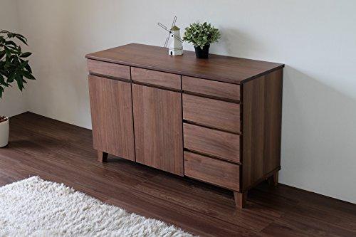 ISSEIKIサイドボード【組立品】リビングキャビネット(ブラウン)幅140cmベーシック飽きの来ないデザイン木製家具大型家具配送BASKSB140(WALNUT)収納北欧家具インテリア