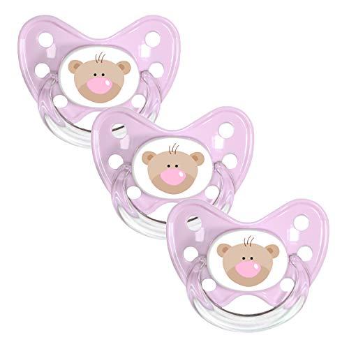 Dentistar® Schnuller 3er Set - Silikon Nuckel in Gr. 3 - ab 14 Monate - zahnfreundlich & kiefergerecht - Beruhigungssauger für Babys und Kleinkinder - Made in Germany - BPA frei - Rosa Bär