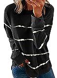 Biucly Womens Fashion Crewneck Tie Dye Sweatshirt Striped Printed Oversized Loose Soft Long Sleeve Fall Pullover Tops Shirts Hoodies & Sweatshirts for Women,US 12-14(L),Black