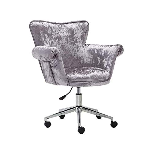 WSDSX Simple Household Office Chair,Velvet Ergonomic Desk Chair Executive Chair,Adjustable Computer Swivel Chair with Arms and Back Support (Color : Gray)