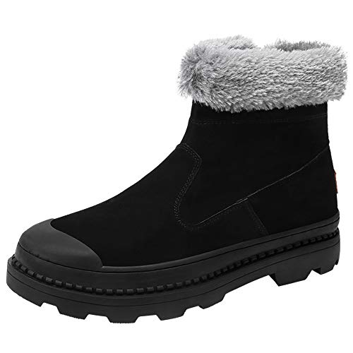 GY-HCJINxdj Los Hombres de Botas de Nieve de Moda de carácter somero de la Cremallera Suela Faux del Invierno Fleece Zapatos Dentro de la casa (Color : Black, Size : 42 EU)