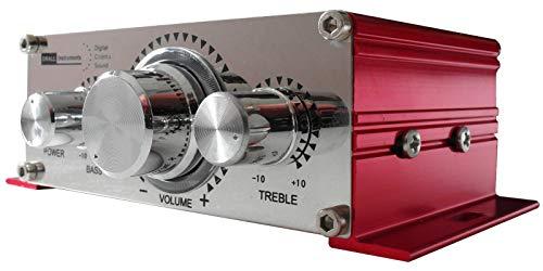DRALL INSTRUMENTS Mini-Endstufe Verstärker für Wohnung, Motoroller, Motorrad, Auto, MP3-Player ROT Modell: EN4